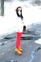 H&M cardigan - mustard lita Jeffrey Campbell boots - red TJ Maxx jeans