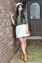 olive green Forever 21 shirt - mustard Jeffrey Campbell boots