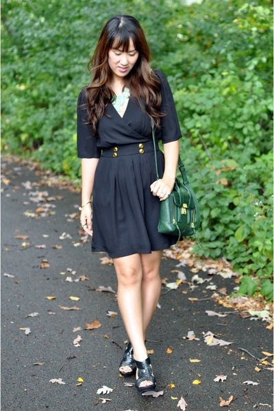 black Forever 21 dress - dark green pashli mini 31 Phillip Lim bag