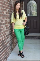 black Marc by Marc Jacobs bag - green cropped slim Forever 21 pants