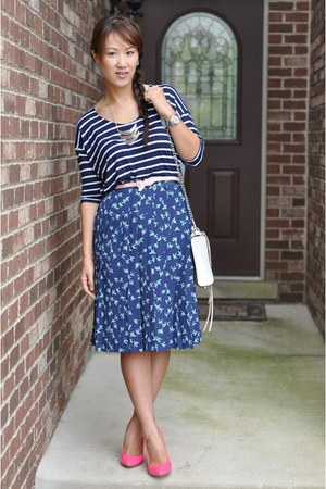 navy Marshalls top - white Rebecca Minkoff bag - blue Forever 21 skirt