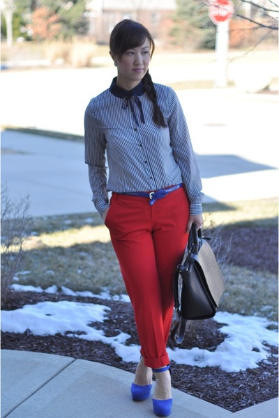 Heritage 1981 blouse - Zara bag - Forever 21 heels - red cropped Express pants