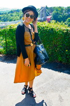 black Topshop shoes - mustard Boohoo dress - black H&M hat - black Prada bag
