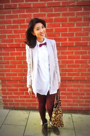 beige H&M blazer - white H&M shirt - maroon H&M tights - camel leopard print Dol