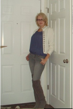heather gray over the knee Target boots - heather gray skinny jeans Old Navy jea