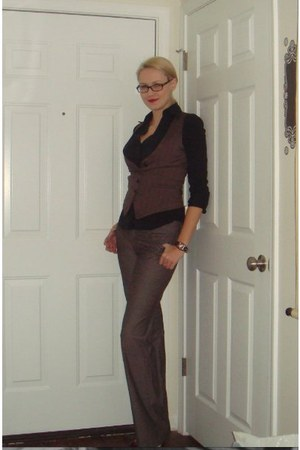 dark brown Walmart watch - crimson BCBG shoes - black Express shirt
