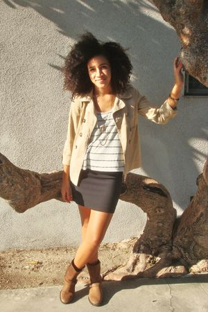 beige Old Navy jacket - white top - black Forever 21 skirt - brown boots - gold