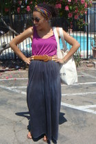 black dyed Old Navy skirt - gold multi-colored Forever21 scarf - magenta top