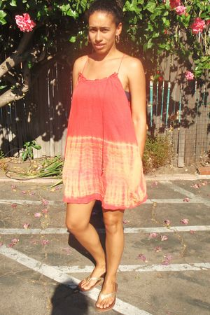 orange American Eagle dress - gold American Eagle shoes - gold Nefertiti earring