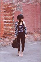 nude leather Zara heels - Forever 21 shirt - Michael Kors bag