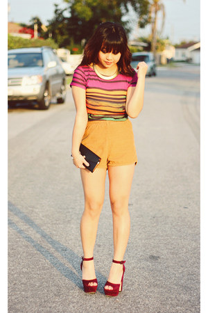 corduroy American Apparel shorts - leather Michael Kors wallet - Glaze heels