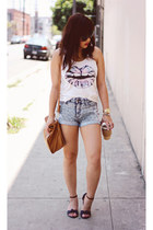 leather Zara bag - acid wash Forever 21 shorts