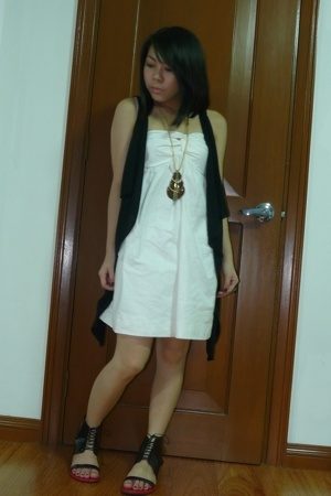 dress - vest - F&H necklace - Bazaar shoes