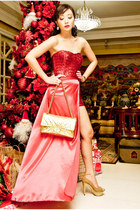 red Glitterati dress - gold CMG shoes - gold 255 Chanel bag