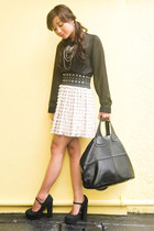 eggshell skirt - black shoes - black shirt - black bag - silver accessories