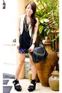 Beige-mango-vest-black-zara-top-navy-glitterati-shorts-black-topshop-shoes