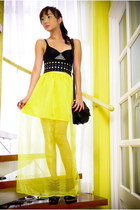 black sling Zara bag - black studded Glitterati belt - yellow Glitterati skirt -
