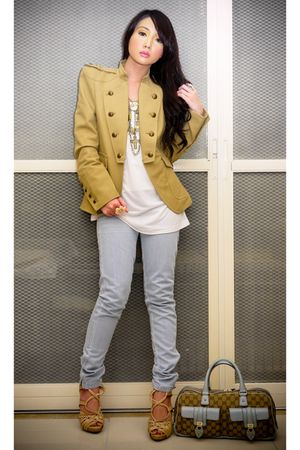 blue Mango jeans - beige strappy woven Topshop shoes - beige Zara blazer