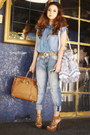 Blue-mango-jeans-tawny-hermes-bag-tan-tom-ford-sunglasses