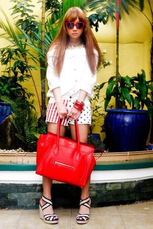 red Celine bag - ivory Fashion Galore shorts - red Aldo glasses