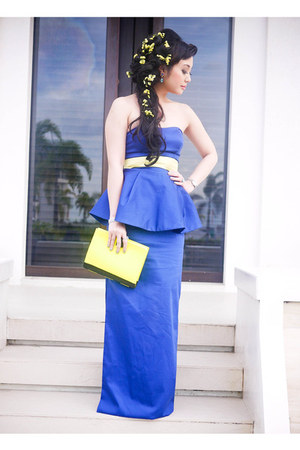 navy Glitterati dress - chartreuse 37LA bag