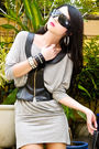 Gray-h-m-dress-black-glitterati-vest-black-online-boots-black-random-purse