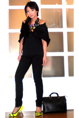 black Tyler coat - black Mango top - black Zara pants - yellow Miss Sixty shoes 
