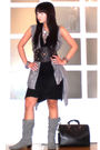 Gray-random-from-hongkong-vest-silver-h-m-necklace-black-zara-dress-black-