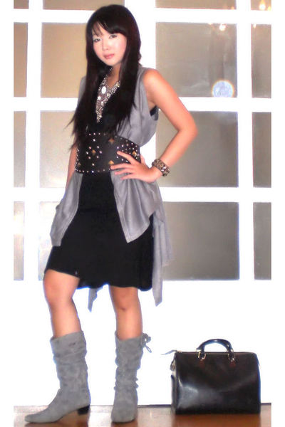 gray random from Hongkong vest - silver H&amp;M necklace - black Zara dress - black 