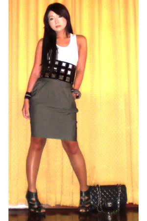 mens section top - Cintura belt - Zara skirt - Topshop shoes - Chanel purse - Tr