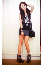 heather gray Topshop vest - black Glitterati skirt - black Soule Phenomenon wedg