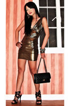 gold Forever21 dress - black Zara blazer - Chanel purse - black online shoes - g