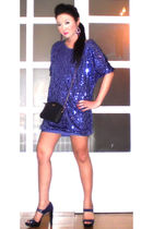 purple Moonshine dress - purple Michael Kors shoes - black christian dior purse