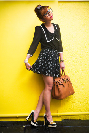 Topshop blouse - Hermes bag - Forever 21 skirt - So Fab loafers