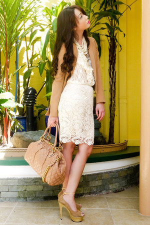 cream lace Forever21 skirt - camel twill H&amp;M blazer - nude stam Marc Jacobs bag