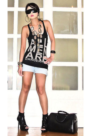 black Zara top - blue Aeropostale shorts - black online boots - black Cuteture n