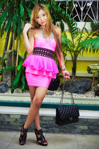 hot pink With Love dress - black Chanel bag