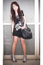 silver Steve Madden heels - black Mango dress - black random bag