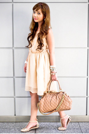 peach Zara dress - nude Marc Jacobs bag - neutral Zara flats