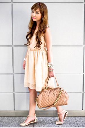 peach Zara dress - nude Marc Jacobs bag - neutral Zara flats
