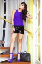 black sequined HK shorts - black Louis Vuitton bag - blue suede DAS wedges
