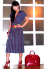 Blue-vintage-dress-red-celine-belt-red-online-shirt-red-louis-vuitton-purs
