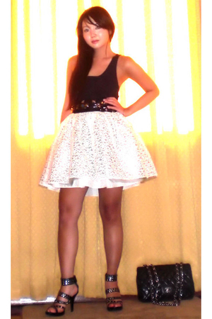 Zara top - Cintura belt - Moonshine skirt - amiclubwearcom shoes - Chanel purse