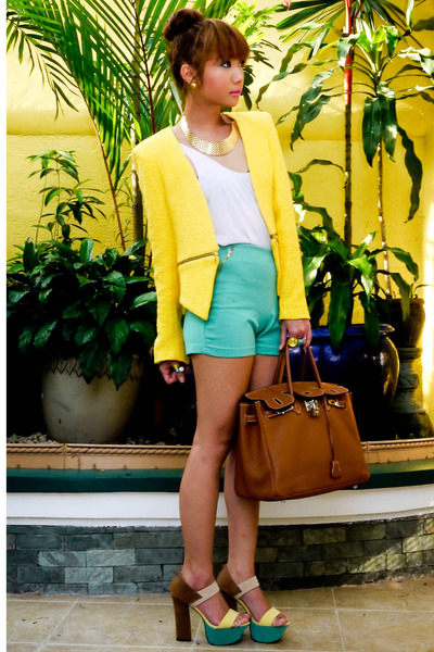 yellow Zara blazer - burnt orange Hermes bag - aquamarine Zara shorts