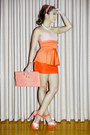 Salmon-peplum-glitterati-dress-salmon-clutch-gold-couture-bag