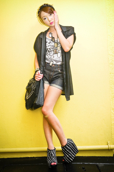 black Glitterati blouse - black fringed random purse