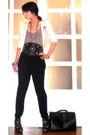 White-random-blazer-gray-topshop-top-black-glitterati-pants-black-glittera