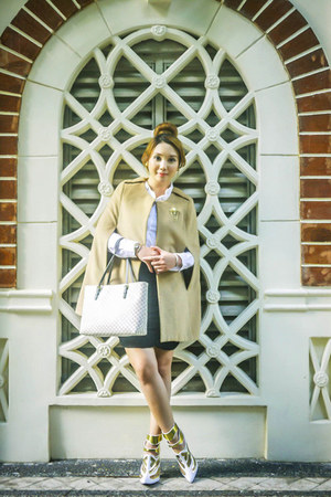 white Celine bag - white Mango top - black Glitterati skirt - camel romwe cape