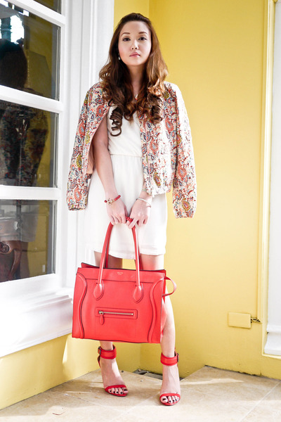 cream Zara dress - light orange Zara jacket - red Zara heels - red Celine belt