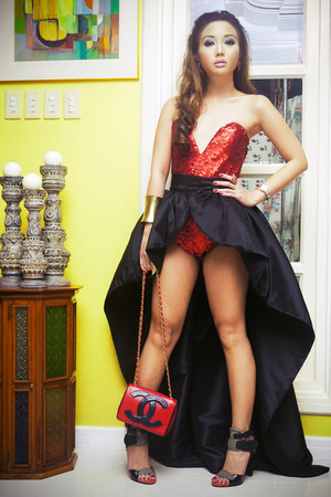 ruby red Glitterati bodysuit - ruby red Chanel bag - black Glitterati skirt